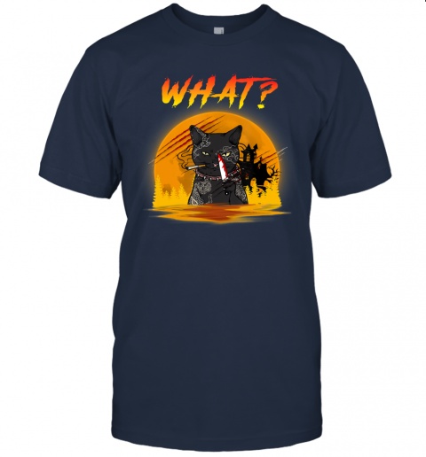 What Cat Murder with Knife Horror Cat Moon Halloween gift T-Shirt