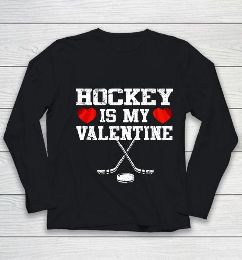 Hockey Is My Valentine Youth Long Sleeve
