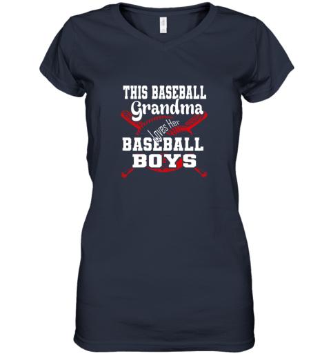 jpjj this baseball grandma loves her baseball boys women v neck t shirt 39 front navy