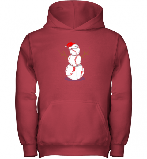 73m4 christmas in july summer baseball snowman party shirt gift youth hoodie 43 front red
