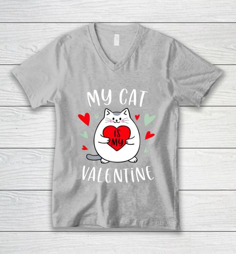 My Cat Is My Valentine Kitten Lover Heart Valentines Day V-Neck T-Shirt 3