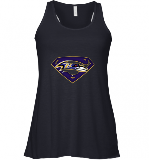 vnir we are undefeatable the baltimore ravens x superman nfl flowy tank 32 front midnight