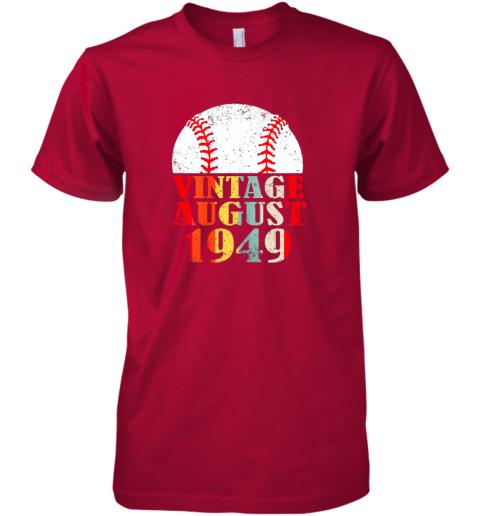 xzzj born august 1949 baseball shirt 70th birthday gifts premium guys tee 5 front red