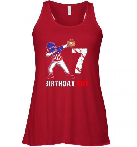 zvlr kids 7 years old 7th birthday baseball dabbing shirt gift party flowy tank 32 front red