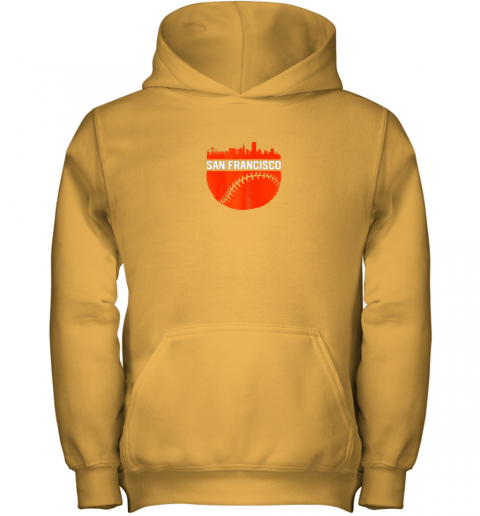 1pcv vintage downtown san francisco cali skyline baseball youth hoodie 43 front gold