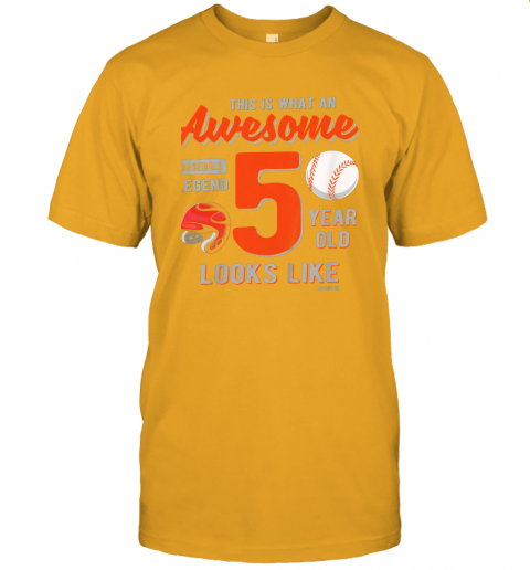 qc7u kids 5th birthday gift awesome 5 year old baseball legend jersey t shirt 60 front gold