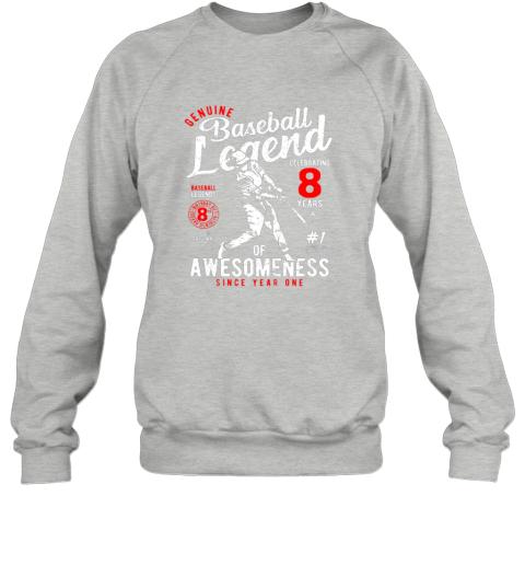 zuqj kids 8th birthday gift baseball legend 8 years sweatshirt 35 front sport grey