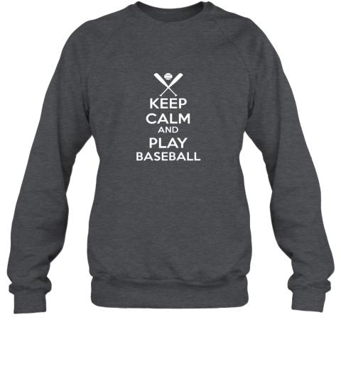 vnuz keep calm and play baseball sweatshirt 35 front dark heather