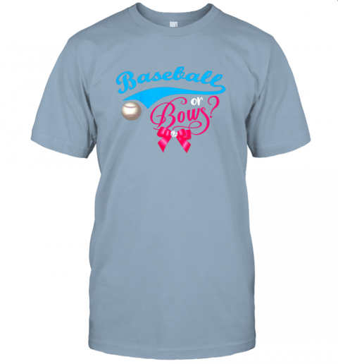 nskq cute baseball or bows gender reveal party jersey t shirt 60 front light blue