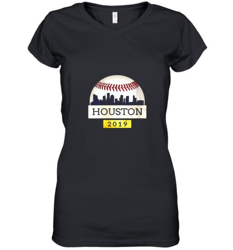 Houston Baseball Shirt 2019 Astro Skyline on Giant Ball Women's V-Neck T-Shirt