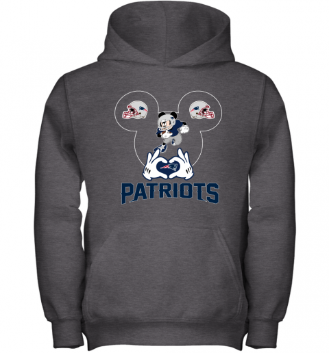kane i love the patriots mickey mouse new england patriots youth hoodie 43 front dark heather