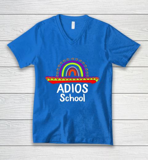 Adios School Happy Last Day Of School 2021 Teacher Mexican V-Neck T-Shirt 5