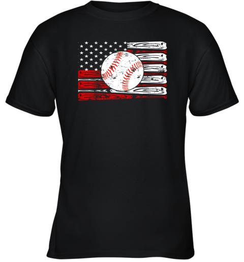 Vintage Baseball American Flag Shirt 4th Of July Gifts Youth T-Shirt