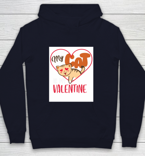 Cute My Cat Is My Valentine Cat Lover Valentines Day Gift Youth Hoodie 2