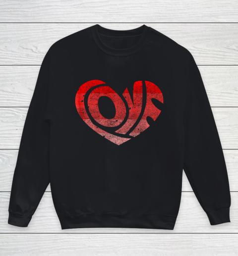 Retro Valentine Heart Shirt Great Valentines Day Gift Youth Sweatshirt