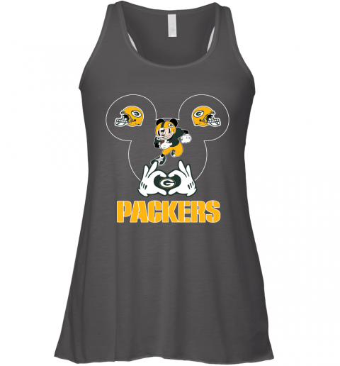 woyg i love the packers mickey mouse green bay packers flowy tank 32 front dark grey heather