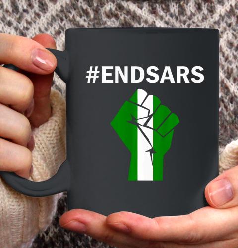 EndSARS End SARS Nigeria Flag Colors Strong Fist Protest Ceramic Mug 11oz 2