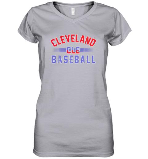 cqj8 cleveland cle baseball women v neck t shirt 39 front sport grey