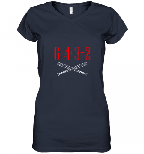 ury6 funny baseball math 6 plus 4 plus 3 equals 2 double play women v neck t shirt 39 front navy