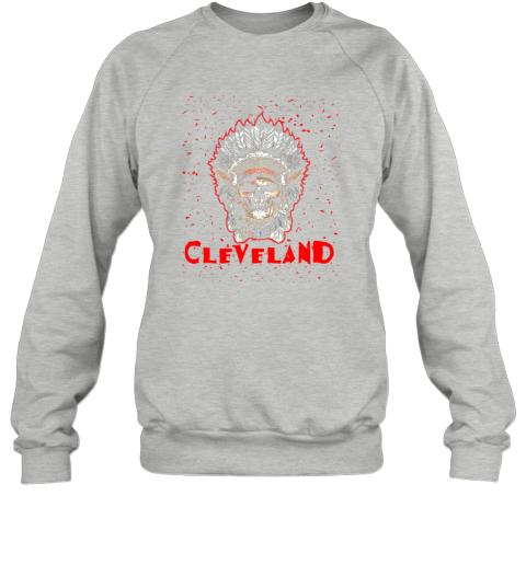 hv2y cleveland hometown indian tribe vintage baseball fan awesome sweatshirt 35 front sport grey