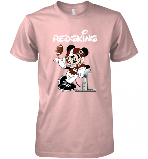jmwp mickey redskins taking the super bowl trophy football premium guys tee 5 front light pink