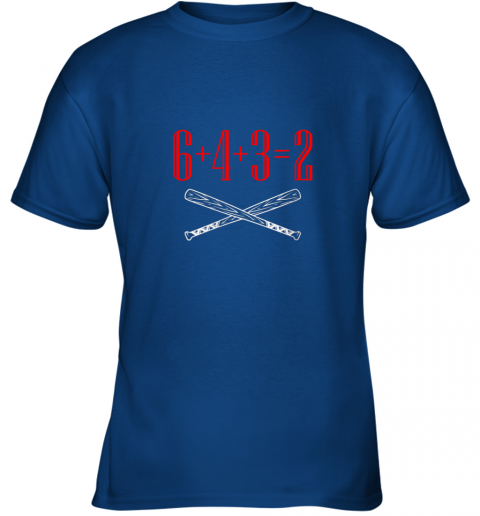thrj funny baseball math 6 plus 4 plus 3 equals 2 double play youth t shirt 26 front royal
