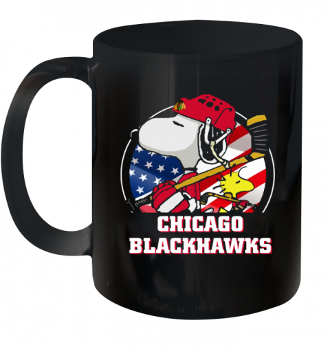 Chicago Blackhawks Ice Hockey Snoopy And Woodstock NHL Ceramic Mug 11oz