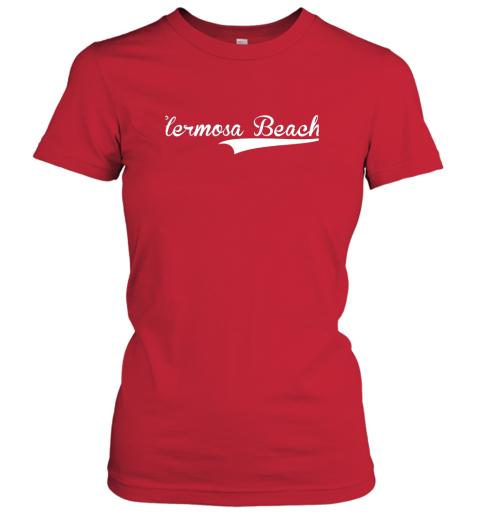 nszm hermosa beach baseball softball styled ladies t shirt 20 front red