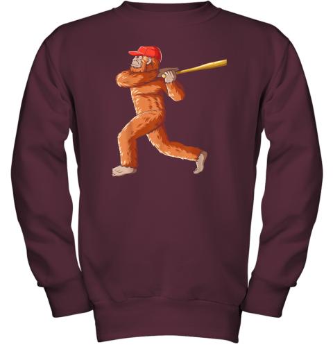 tv08 bigfoot baseball sasquatch playing baseball player youth sweatshirt 47 front maroon