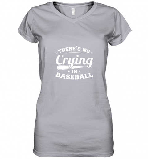 ozmn there39 s no crying in baseball gift women v neck t shirt 39 front sport grey