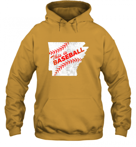 axqo this is baseball arkansas with red laces hoodie 23 front gold