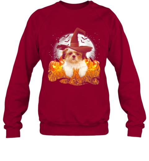 Lhasa apso Halloween, Cute dog witch on Halloween pumpkin Sweatshirt