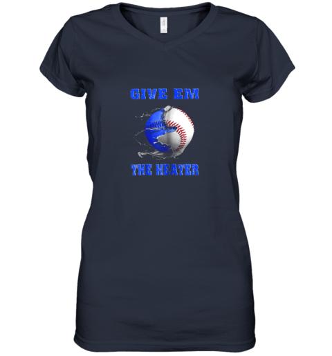x4wn give em the heater baseball pitcher women v neck t shirt 39 front navy