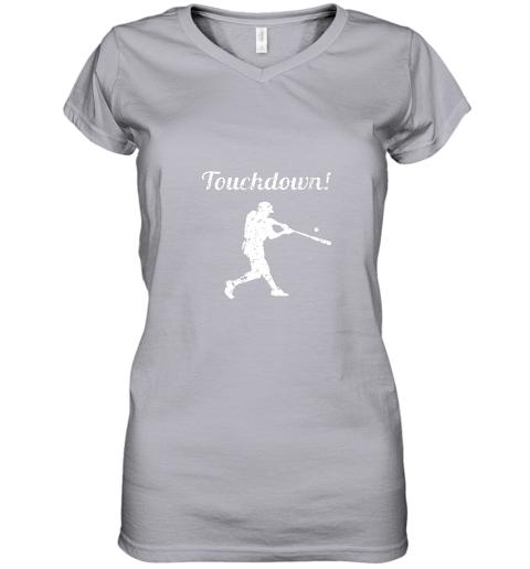 plpp touchdown funny baseball women v neck t shirt 39 front sport grey