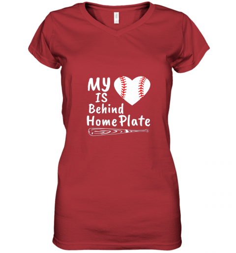 nfyv womens my heart is behind home plate baseball bat mom dad gift women v neck t shirt 39 front red