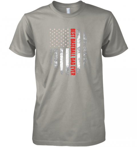 d4b4 vintage usa best baseball dad ever american flag daddy gift premium guys tee 5 front light grey