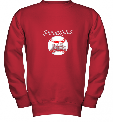 1ghk philadelphia baseball philly tshirt ball and skyline design youth sweatshirt 47 front red