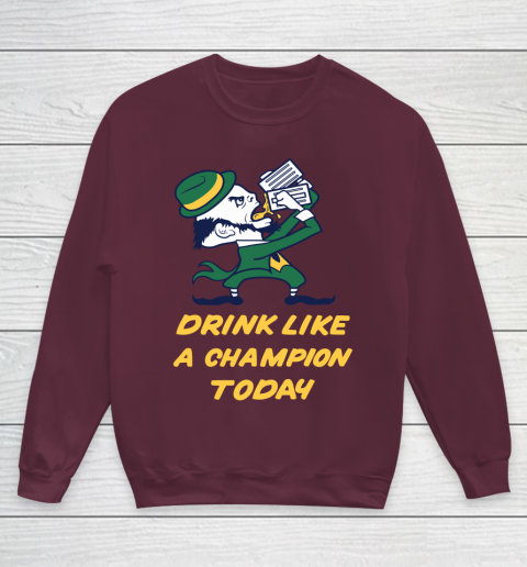 Beer Lover Funny Shirt Drink Like A Champion Today Youth Sweatshirt 4