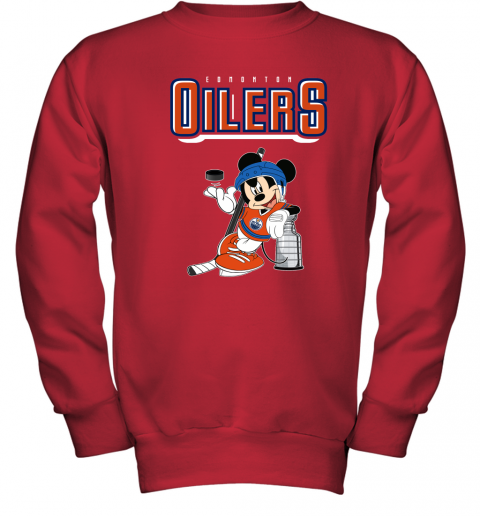 0ud6 mickey edmonton oilers with the stanley cup hockey nhl shirt youth sweatshirt 47 front red