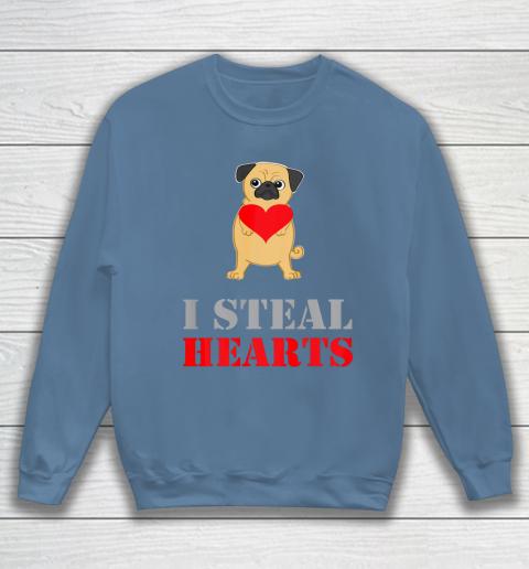 Pug Dog Valentine Shirt I Steal Hearts Sweatshirt 6