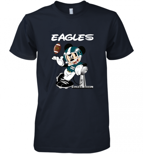 yz1k mickey eagles taking the super bowl trophy football premium guys tee 5 front midnight navy