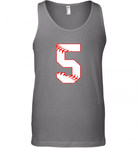 65vn cute fifth birthday party 5th baseball shirt born 2014 unisex tank 17 front graphite heather