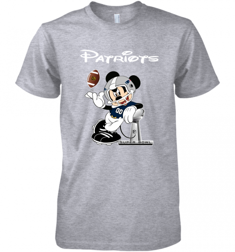 rqro mickey patriots taking the super bowl trophy football premium guys tee 5 front heather grey