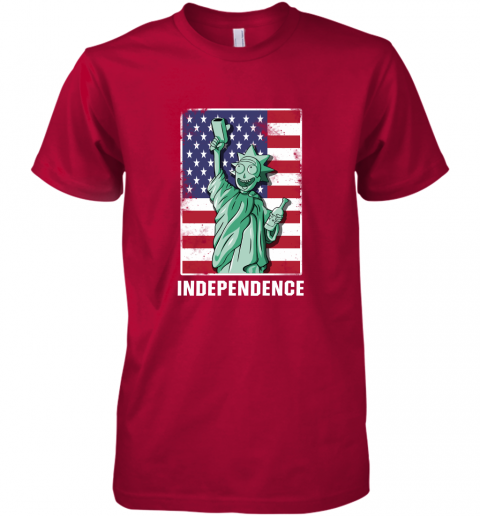pjvm rick and morty statue of liberty independence day 4th of july shirts premium guys tee 5 front red