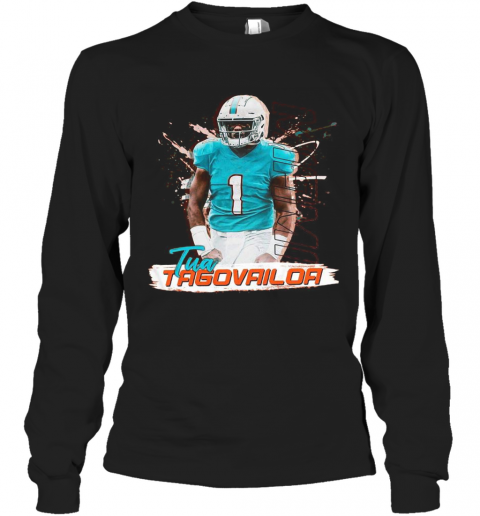 1 Tua Tagovailoa Miami Dolphins Football Long Sleeve T-Shirt