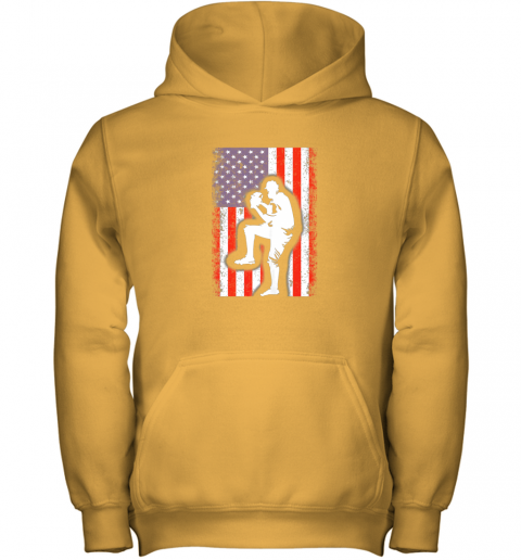 lbr0 vintage usa american flag baseball player team gift youth hoodie 43 front gold