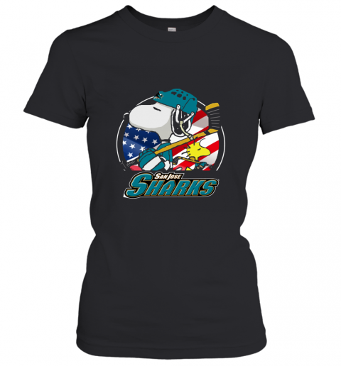 Sanjose Sharks Snoopy And Woodstock NHL Women's T-Shirt