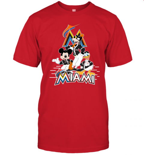 7ppd miami marlins mickey donald and goofy baseball jersey t shirt 60 front red