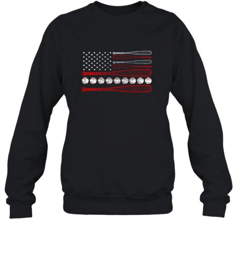 Vintage American Flag Baseball 4th July Sweatshirt