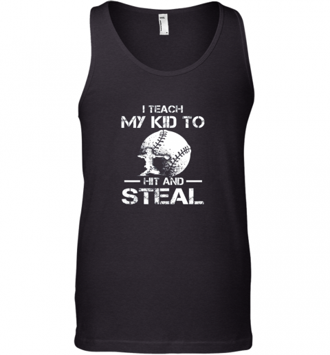 Dad Coach I Teach My Kids To Hit Steal Baseball Gift Tank Top